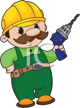 Cartoon Handyman with a Power Drill