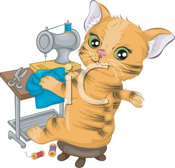 Cartoon of a Cat Sewing Clothes