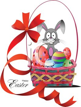 Easter Basket with a Long Ribbon and a Bunny with Eggs