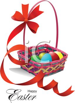 Happy Easter Message with an Easter Basket