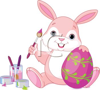 Adorable Pink Bunny Painting Easter Eggs