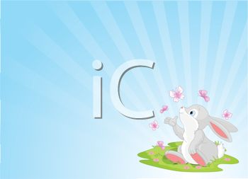 Cute Bunny Playing with Butterflies Spring Background