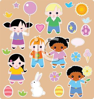Boys and Girls with Bunnies on an Easter Background