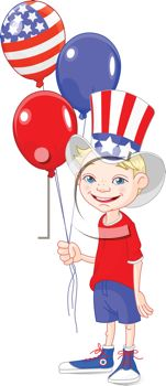 Little Boy Celebrating the 4th of July with Balloons