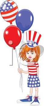 Little Girl Celebrating the 4th of July with Balloons