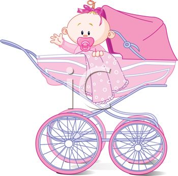Cute Cartoon Baby Girl in a Pink Carriage