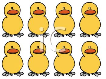 Royalty Free Clipart Image: Two Rows of Baby Chicks