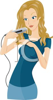 Cartoon of a Woman Using a Flat Iron to Straighten Her Hair