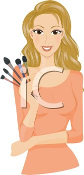 Make Up Artist Holding Cosmetics Brushes
