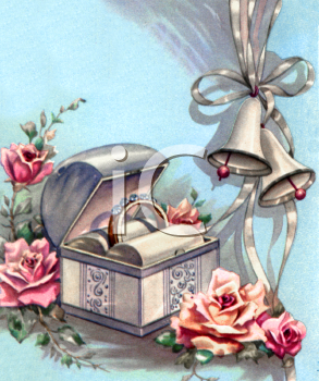 Vintage Wedding Design of Wedding Bells Next to a Ring Box