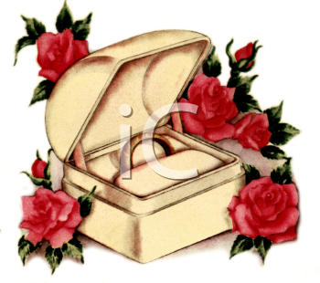 Vintage Wedding Design of Roses Surrounding a Ring Box