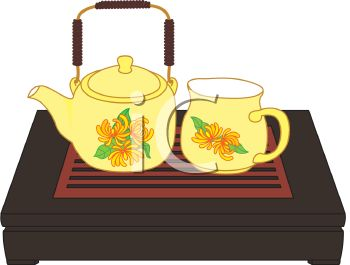 Tea Set on a Wooden Bed Tray