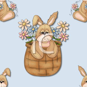 Country Style Easter Background with an Easter Bunny