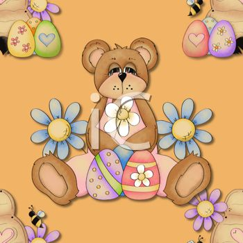 Country Style Easter Background with a Bear Holding Easter Eggs