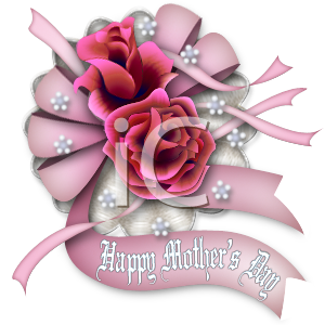 Happy Mother's Day Design with Roses and Ribbons