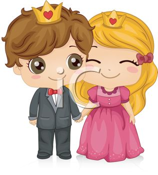 Cute Cartoon of a Prince and Princess