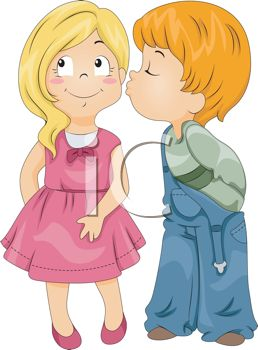 Cartoon of a First Kiss