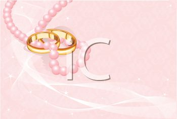 Wedding Background with Pink Pearls and Gold Bands
