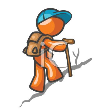 orange man character hiking up a hill royalty free clip art picture rh clipartguide com hiking clip art black and white hiking clip art images