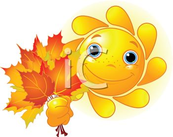 Cartoon of a Fall Sun Holding Autumn Leaves