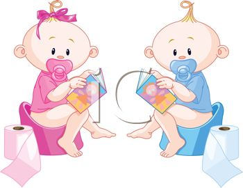 Twin Babies Learning to Use the Potty