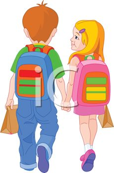 Brother and Sister Holding Hands Walking to School