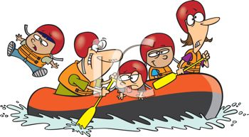 Cartoon of a Family on a Rafting Trip