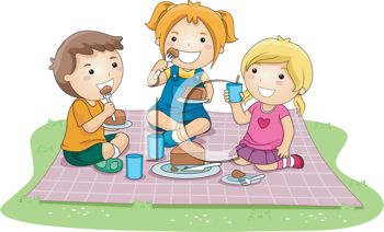 Kids Having Cake on a Picnic Blanket
