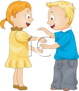 Little Kids Playing Patty-cake - Royalty Free Clip Art Picture