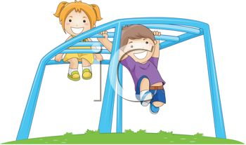 Kids Playing on a Playground Monkey Bars