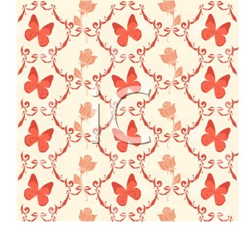 Vintage Butterfly Design Wallpaper