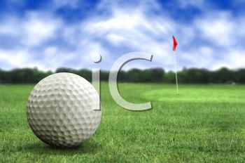 Realistic Golf Ball Sitting on the Green with a Flag in the Background