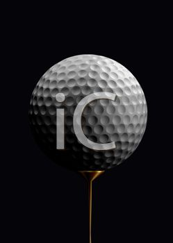 Golf Ball on a Tee with a Black Background