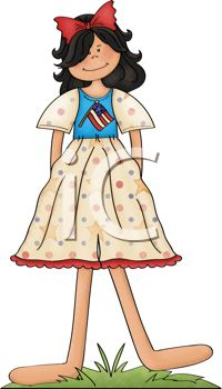 Dark Haired Girl Wearing a 4th of July Dress