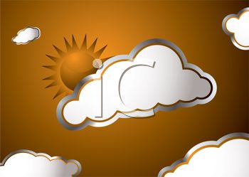 Metallic Embossed Sun and Clouds Background