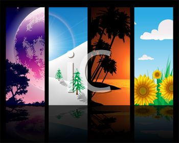 Panels Showing the Seasons on a Black Background with Reflections