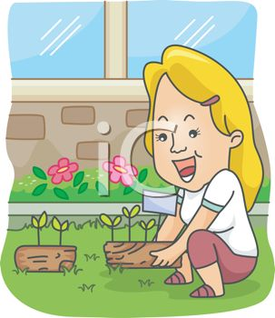 Cartoon of a Woman Planting Flowers