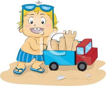 Cartoon of a Little Boy Playing with a Toy Truck at the Beach