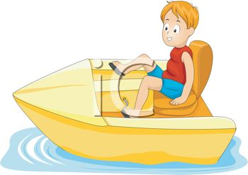 Cartoon of a Little Boy in a Paddle Boat