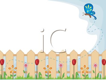 Garden Sign With A Fence And Flowers Royalty Free Clip Art - Cartoon fence clip art