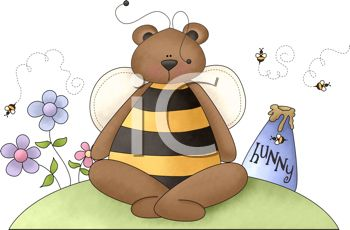 Bear Sitting Next to His Honey Pot with Bees