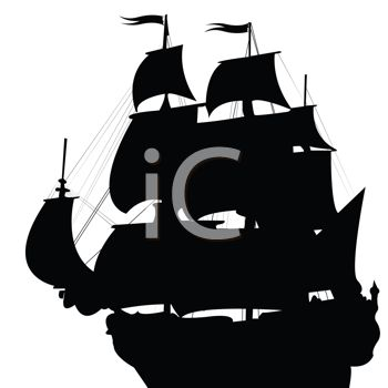 Silhouetted Clipper Ship