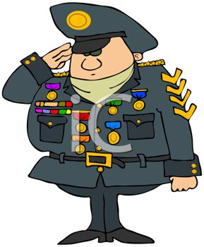 Cartoon Military General with Lots of Medals