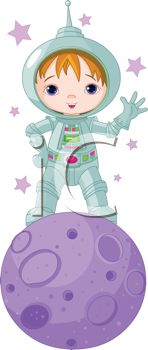 Cute Little Boy Wearing a Space Suit Standing on a Planet