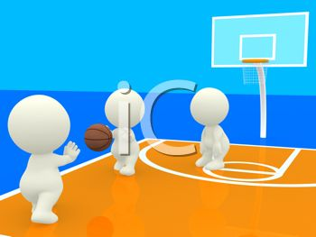 3D Human Figures Playing Basketball on an Indoor Court