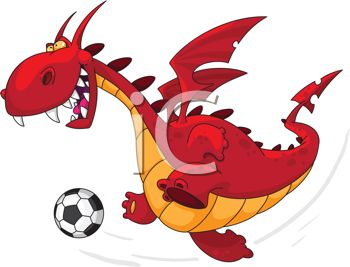 Cartoon of a Dragon Playing Soccer