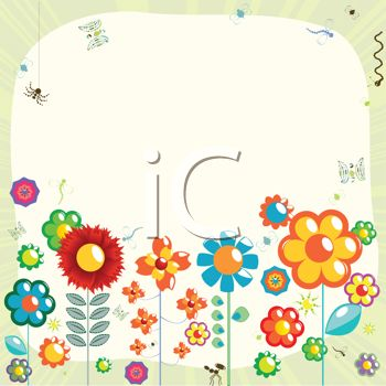 Cute Cartoon Flowers and Insects Background
