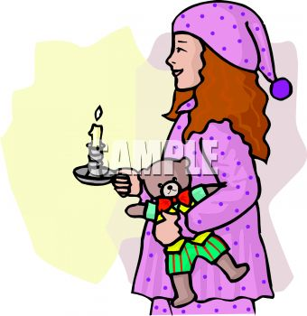 Girl Wearing a Night Cap Holding a Candle at Bedtime