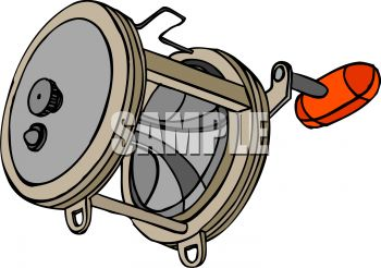 cartoon fishing reel royalty free clip art picture