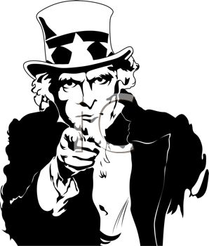 Retro Black and White Uncle Sam Pointing